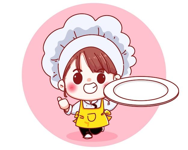 Garota chef linda segurando uma ilustração dos desenhos animados de prato vazio Vetor grátis