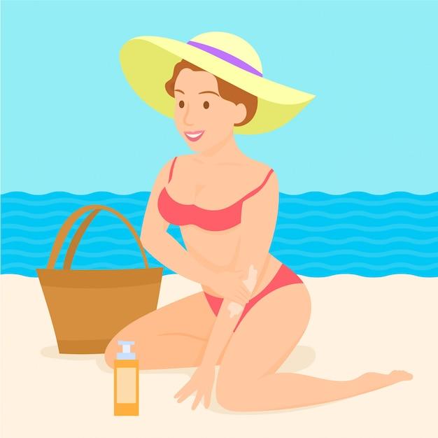 Garota colocando protetor solar na praia Vetor Premium