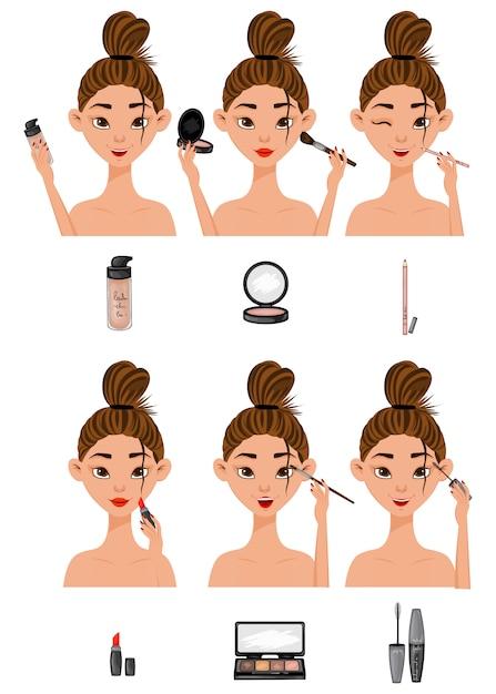 Garota com as etapas de aplicação de maquiagem Vetor Premium