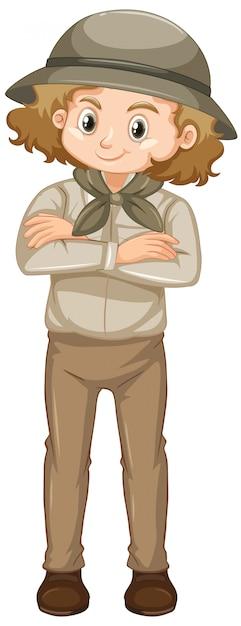 Garota com roupa de safari no fundo branco Vetor grátis