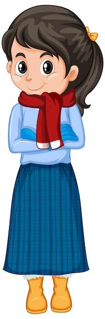Garota com roupas de inverno em branco Vetor grátis