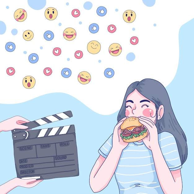 Garota comendo ilustração dos desenhos animados. Vetor Premium