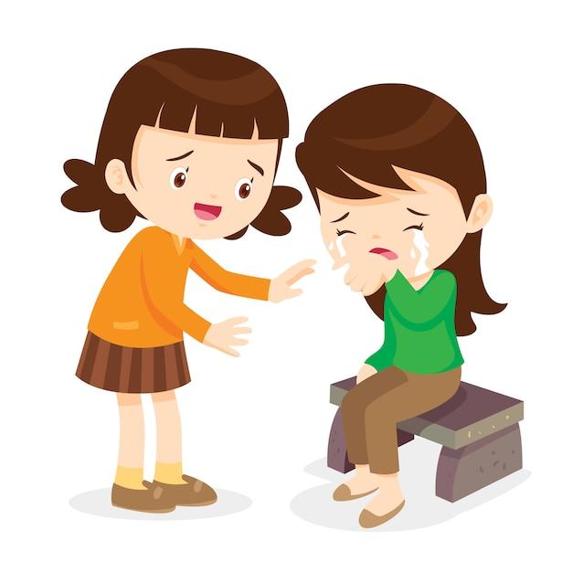 Garota, confortando seu amigo chorando Vetor Premium