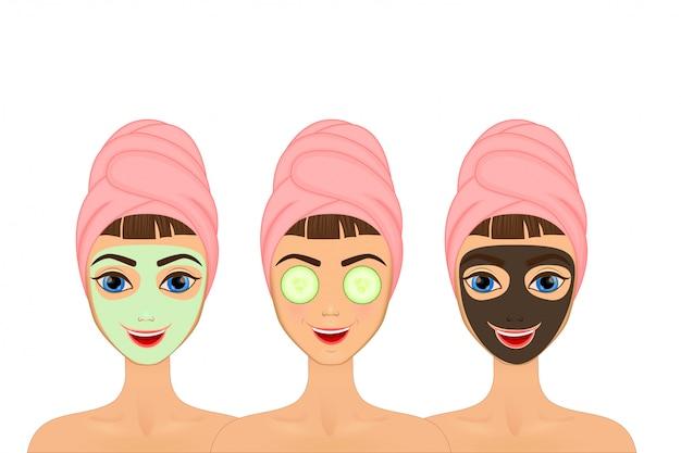 Garota cuida e protege o rosto com várias ações, facial Vetor Premium