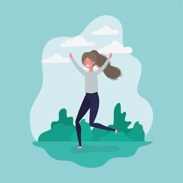 Garota de avatar pulando no parque Vetor grátis