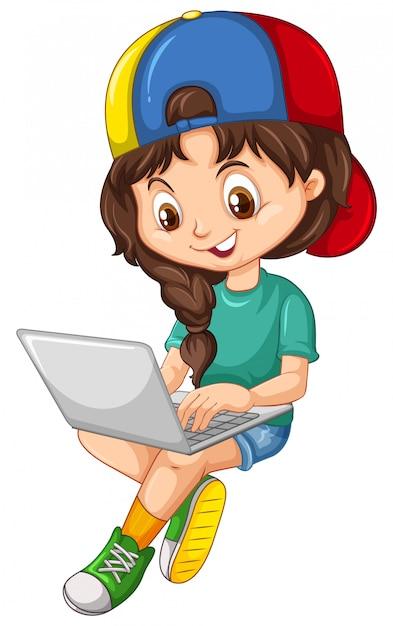 Garota de camisa verde usando o personagem de desenho animado de laptop no fundo branco Vetor grátis