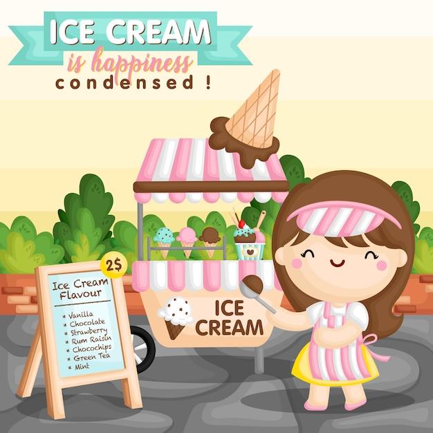 Garota de carrinho de sorvete Vetor Premium