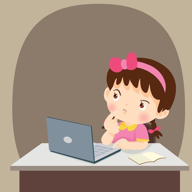 Garota de estudantes de pensamento criança pensando com laptop Vetor Premium
