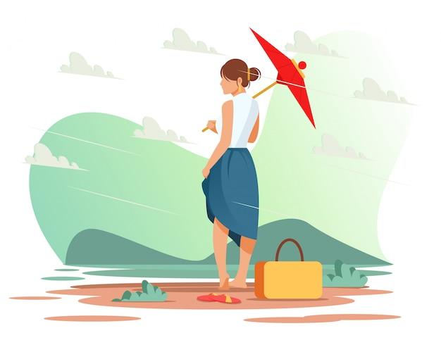 Garota de guarda-chuva Vetor Premium