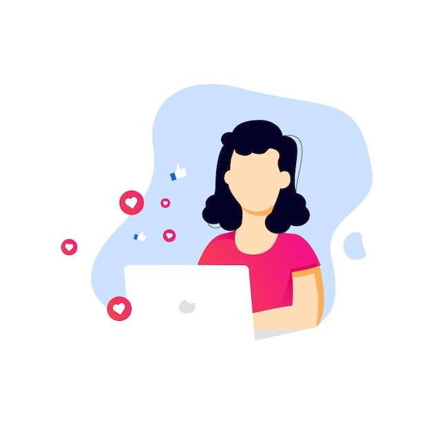 Garota de mídia social estilo plano digitando no laptop Vetor Premium