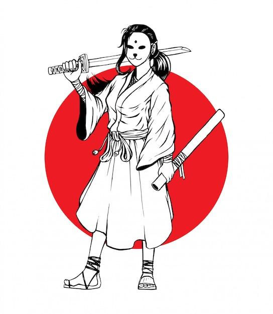 Garota de samurai mascarada em pé Vetor Premium