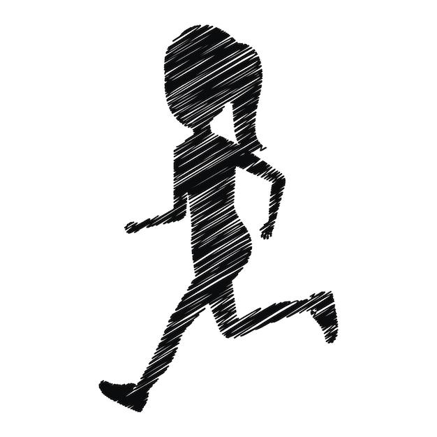 garota de silhueta correndo ícone design isolado baixar vetores