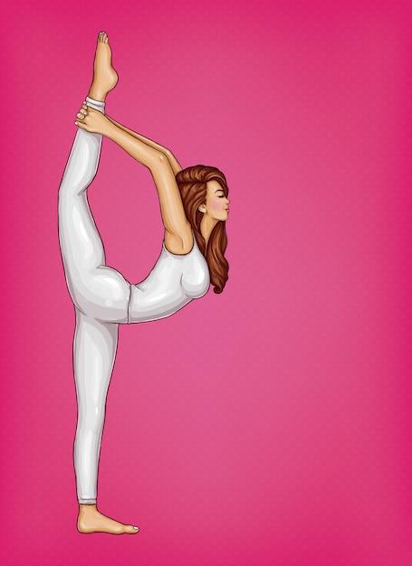 Garota de terno branco, fazendo ginástica ou yoga, fica em posição em uma perna e trechos Vetor grátis