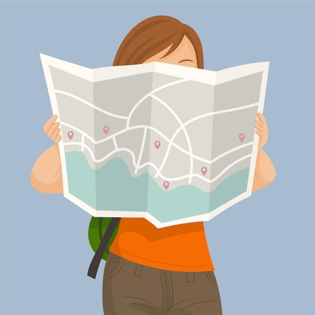 Garota de turista com mapa na cidade Vetor Premium