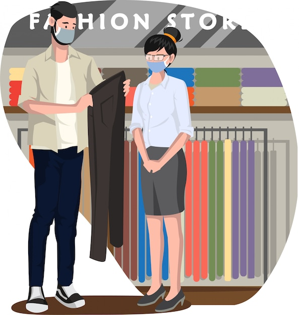 Garota de vendas atendendo a um comprador que deseja comprar calças compridas na loja de moda Vetor Premium