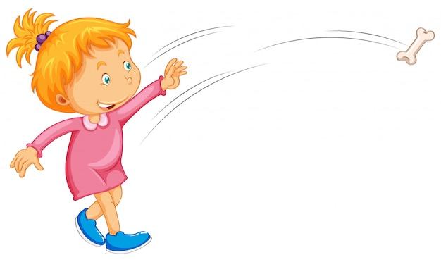 Garota de vestido rosa, jogando osso Vetor grátis