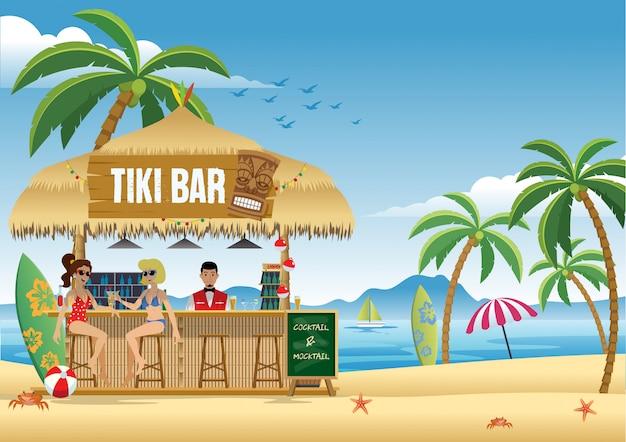 Garota do casal aproveitando o verão no bar tiki Vetor Premium
