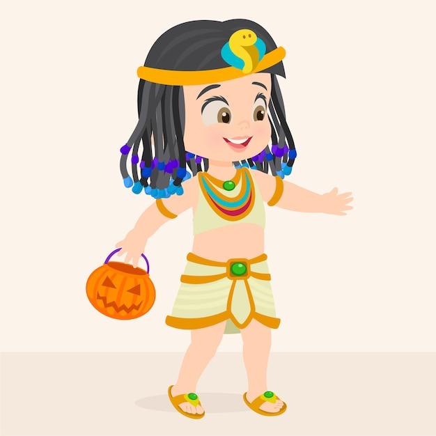 Garota do halloween vestida como cleópatra Vetor Premium