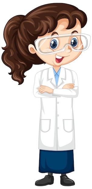 Garota em bata de laboratório Vetor grátis