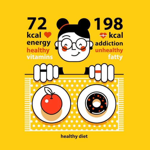 Garota engraçada é escolher entre maçã e rosquinha. quantas calorias você deve comer Vetor Premium
