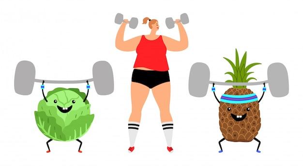 Garota esporte e frutas Vetor Premium