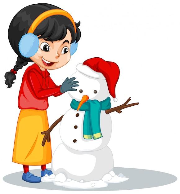 Garota fazendo boneco de neve no isolado Vetor grátis