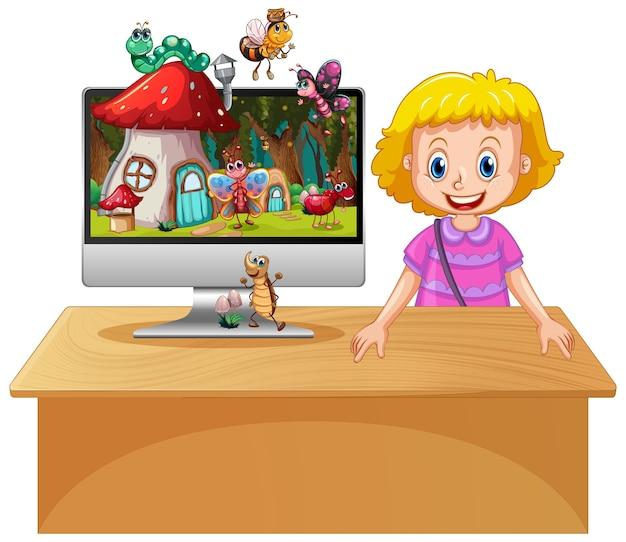 Garota feliz ao lado do computador com um inseto em uma terra mágica, plano de fundo da área de trabalho Vetor grátis