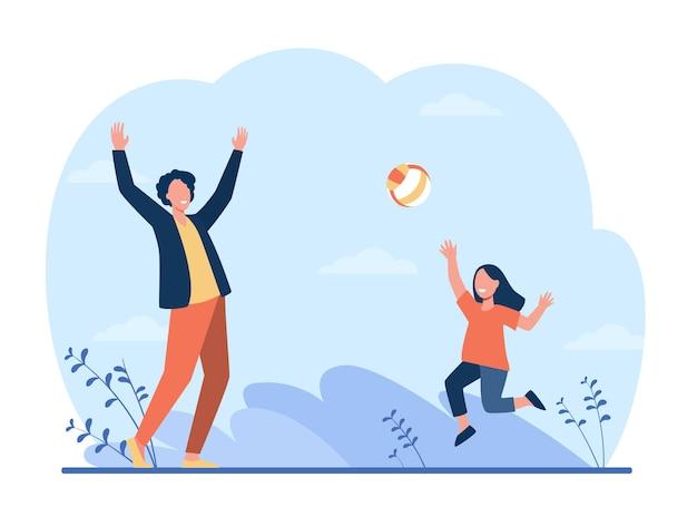 Garota feliz brincando com o pai no vôlei. diversão, pai, ilustração plana de criança. Vetor grátis
