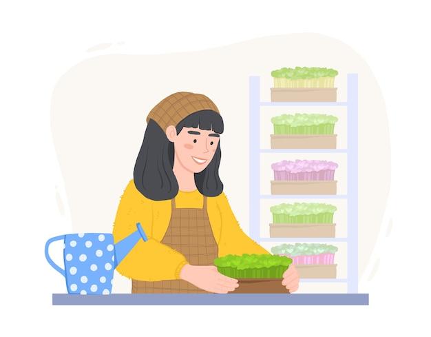 Garota feliz com caixas de microgreens. cultivando superalimento em casa. mulher com um regador. Vetor Premium