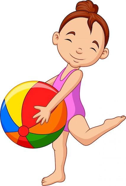 Garota feliz dos desenhos animados, segurando uma bola de praia Vetor Premium