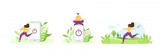 Garota feliz em miniatura está saindo de um enorme telefone celular. mulher em paisagem natural Vetor Premium