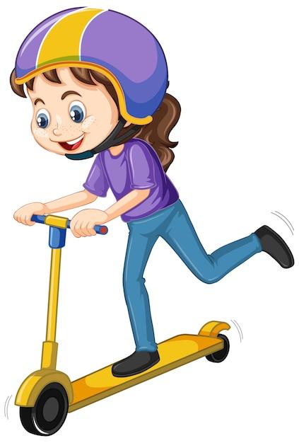 Garota feliz jogando scooter em branco Vetor grátis
