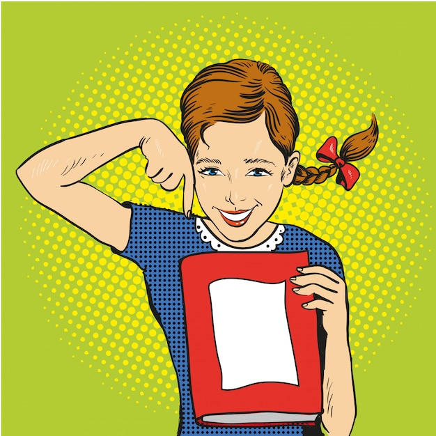 Garota feliz segura um livro nas mãos dela. voltar para o modelo de escola Vetor Premium