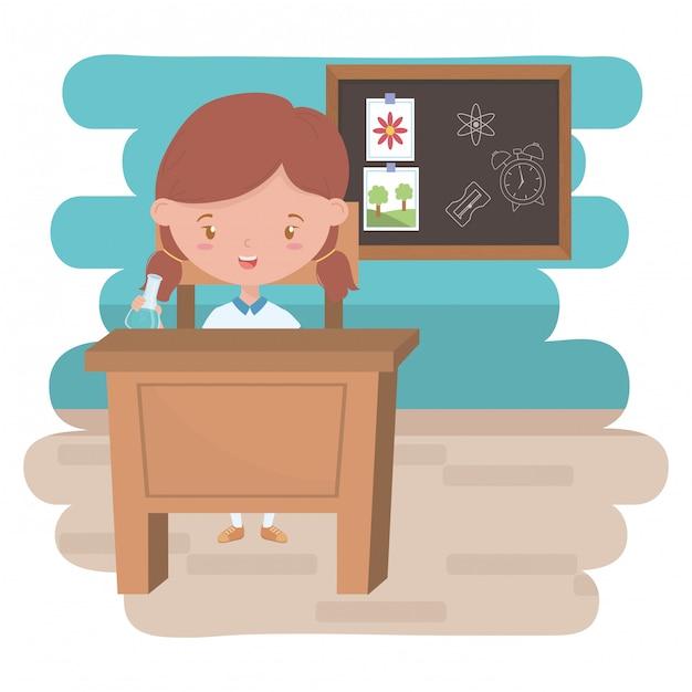 Garota garoto da escola em design de sala de aula Vetor Premium
