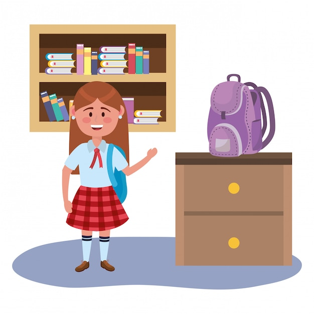 Garota garoto da escola Vetor grátis