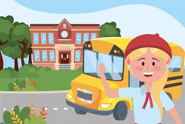 Garota garoto e escola de ônibus Vetor grátis