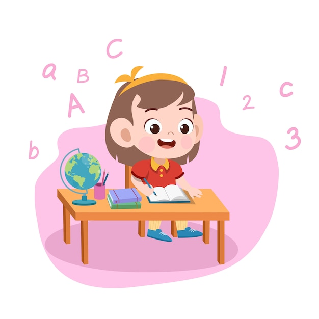 Garota garoto estudo ilustração Vetor Premium