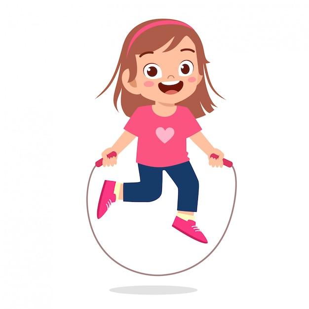 Garota garoto feliz feliz jogar pular corda Vetor Premium