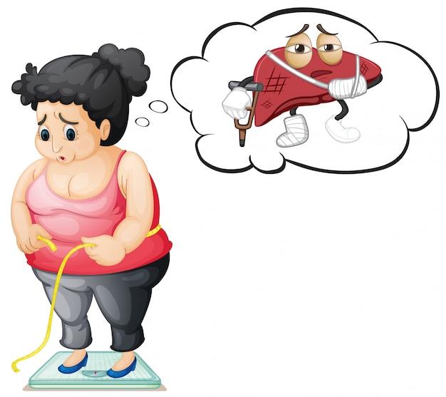 Garota gorda com danos no fígado Vetor grátis