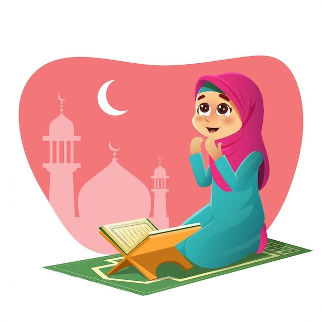 Garota orando por allah Vetor Premium