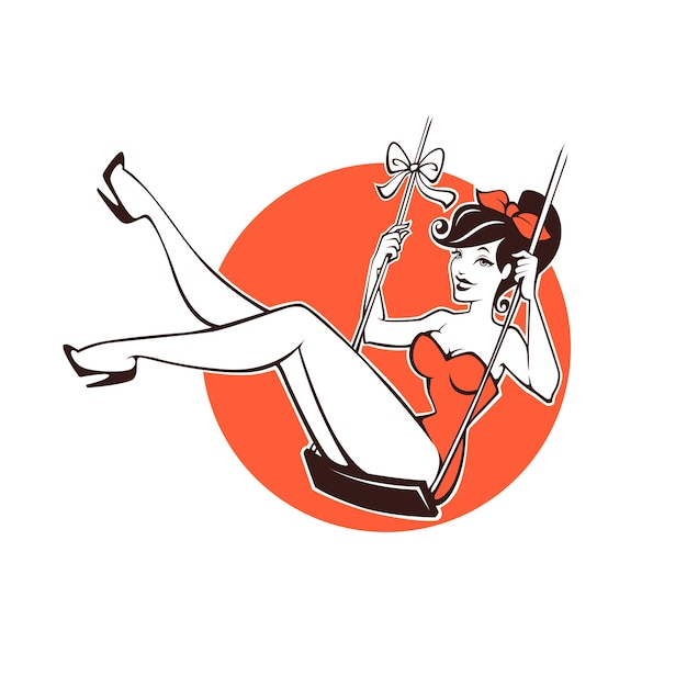 Garota pinup retrô sexy e bonita para seu logotipo ou etiqueta Vetor Premium