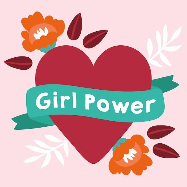 Garota poderosa com letras em fita e design de ilustração vetorial de coração Vetor Premium