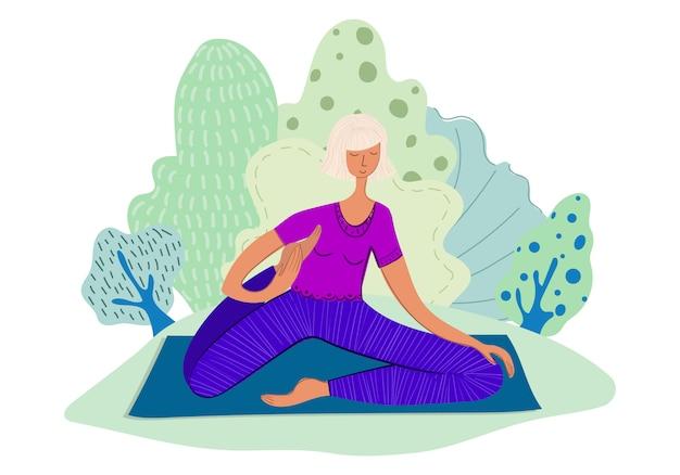 Garota pratica ioga no parque Vetor Premium