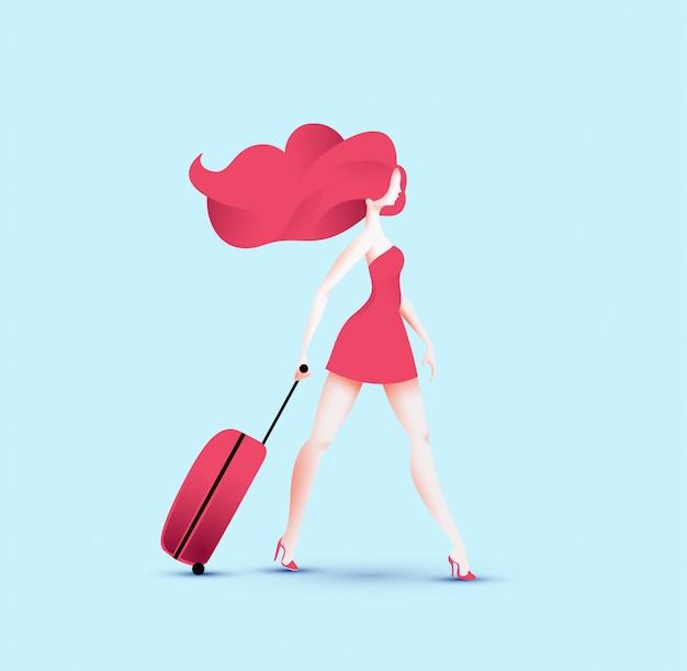 Garota ruiva de viajante bonito vestido vermelho andando com saco de rolo de viagem vermelho. Vetor Premium
