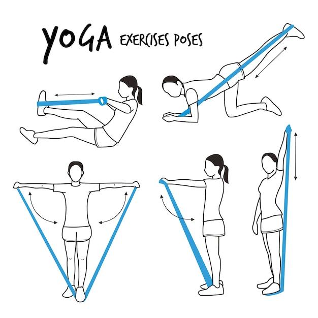 Garota slim praticando ioga alongamento exercícios poses vector Vetor Premium