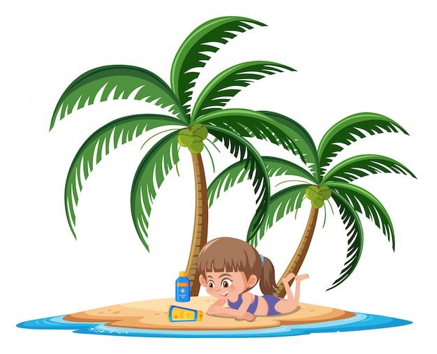 Garota tomando banho de sol com personagem de desenho animado loção protetor solar em fundo branco Vetor Premium