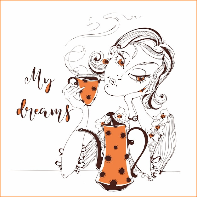 Garota tomando chá. sonhos de menina. meu sonho. Vetor Premium