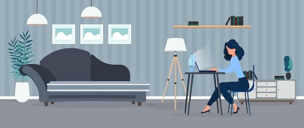 Garota trabalha em um laptop em um escritório elegante. um escritório, um computador, um sofá, um guarda-roupa, uma estante com livros, pinturas nas paredes. trabalhe em casa. Vetor Premium