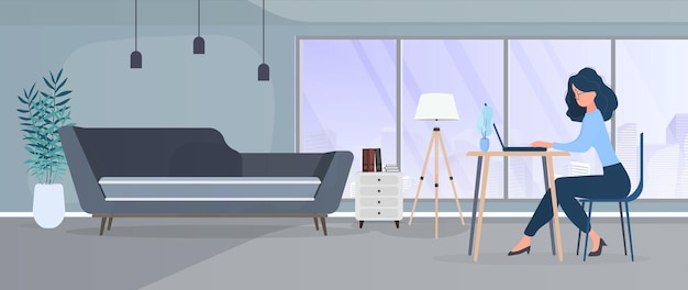 Garota trabalha em um laptop em um escritório elegante. um escritório, um computador, um sofá, um guarda-roupa, uma estante com livros, pinturas nas paredes. trabalhe em casa. . Vetor Premium