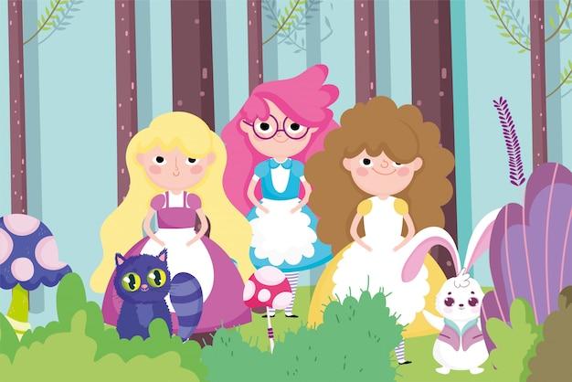 Garotas bonitas coelho floresta de gato, personagem de crianças Vetor Premium